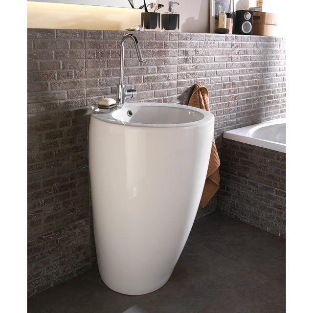 Lavabo Totem Ceramique Blanc 55 Cm Lavabo Colonne Lavabo Vasque Lavabo
