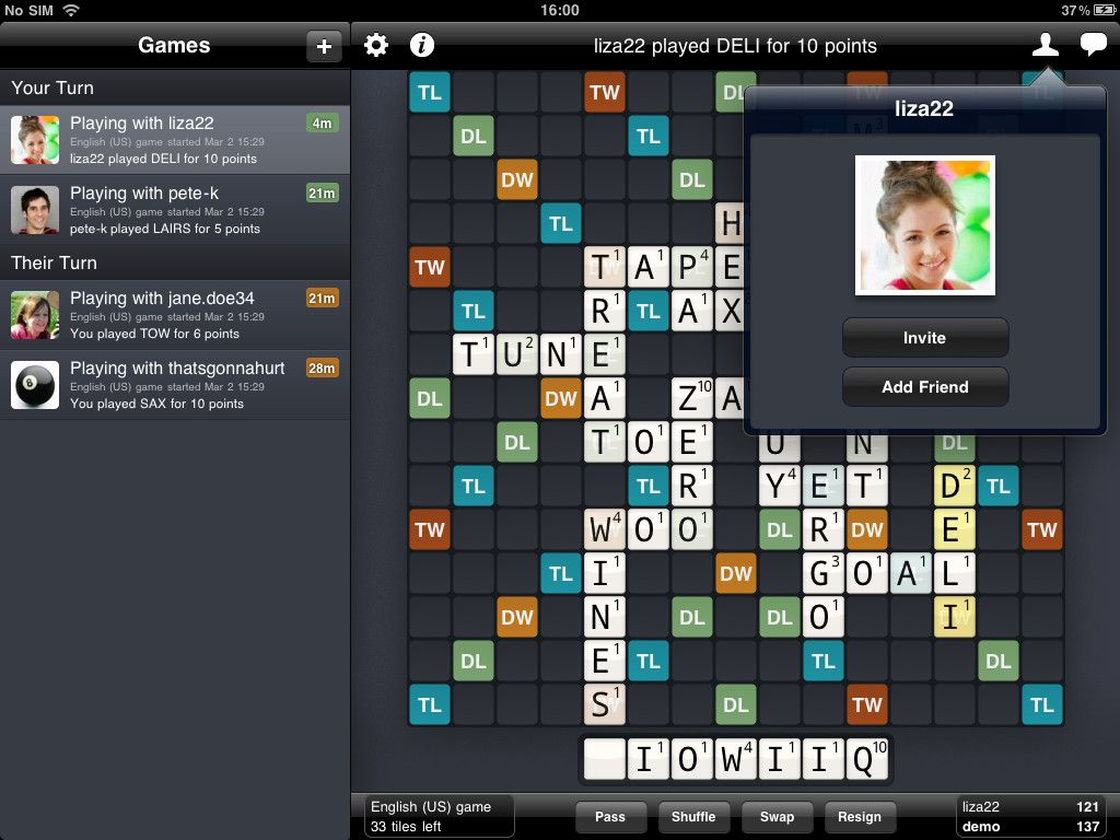 Finally Wordfeud for iPad is here!