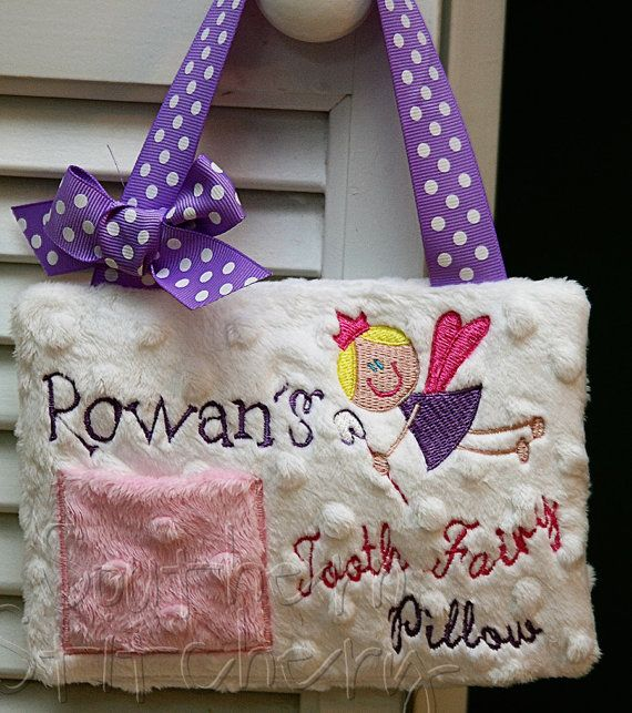 Birthday gift. Tooth fairy pillow Embroidered pillow Personalized tooth fairy pillow