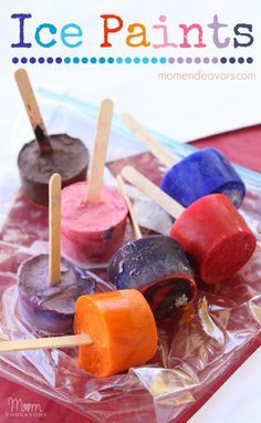 Ice Paints - Great Activity for Kids during the heat of the summer.