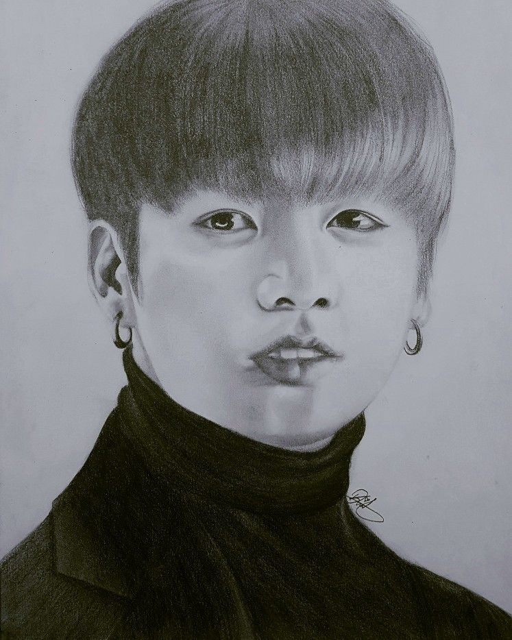 bts jungkook karakalem portre art kookie golden maknae bangtanboys bangtansonyeondan drawing korea kpop bts pinterest