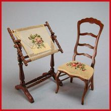 This French antique chair is embroidered & the woodwork is gilt.The chair  is an