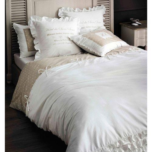 linge de lit maison du monde Parure de lit en coton blanche 220x240 | Shabby, Bedrooms and  linge de lit maison du monde