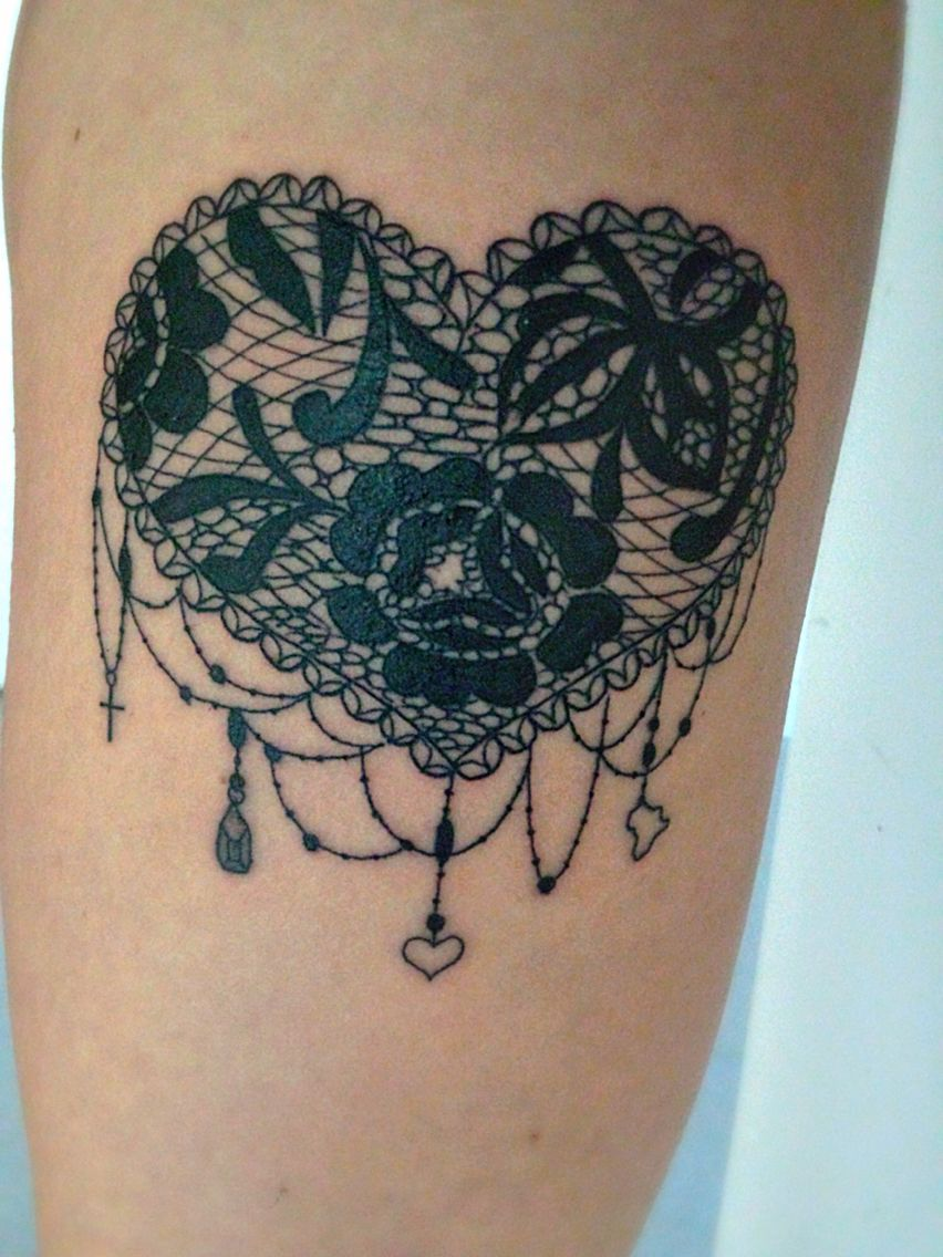 Heart cover up tattoo ideas laced love heart tattoo with charms  art inspiration  paintings