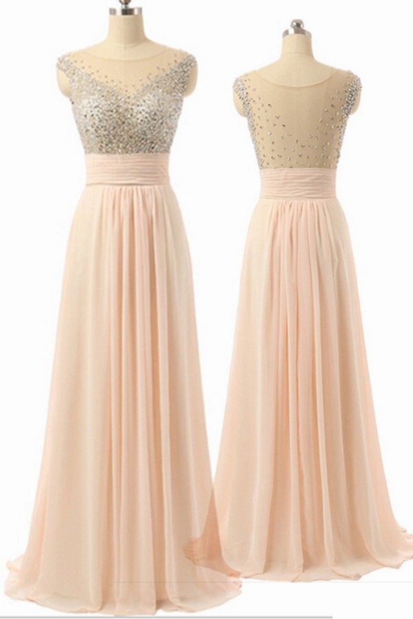 Cap Sleeves Chiffon Empire Waist Beaded Long Prom Dresses