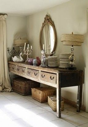 dining room white grey black chippy shabby chic whitewashed - Dining Room Sideboard Decorating Ideas