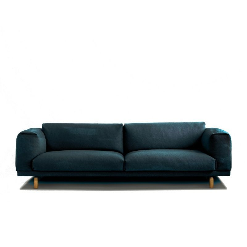 muuto rest sofa 3 sitzer petrol stoff steelcut 780 260x93x75cm