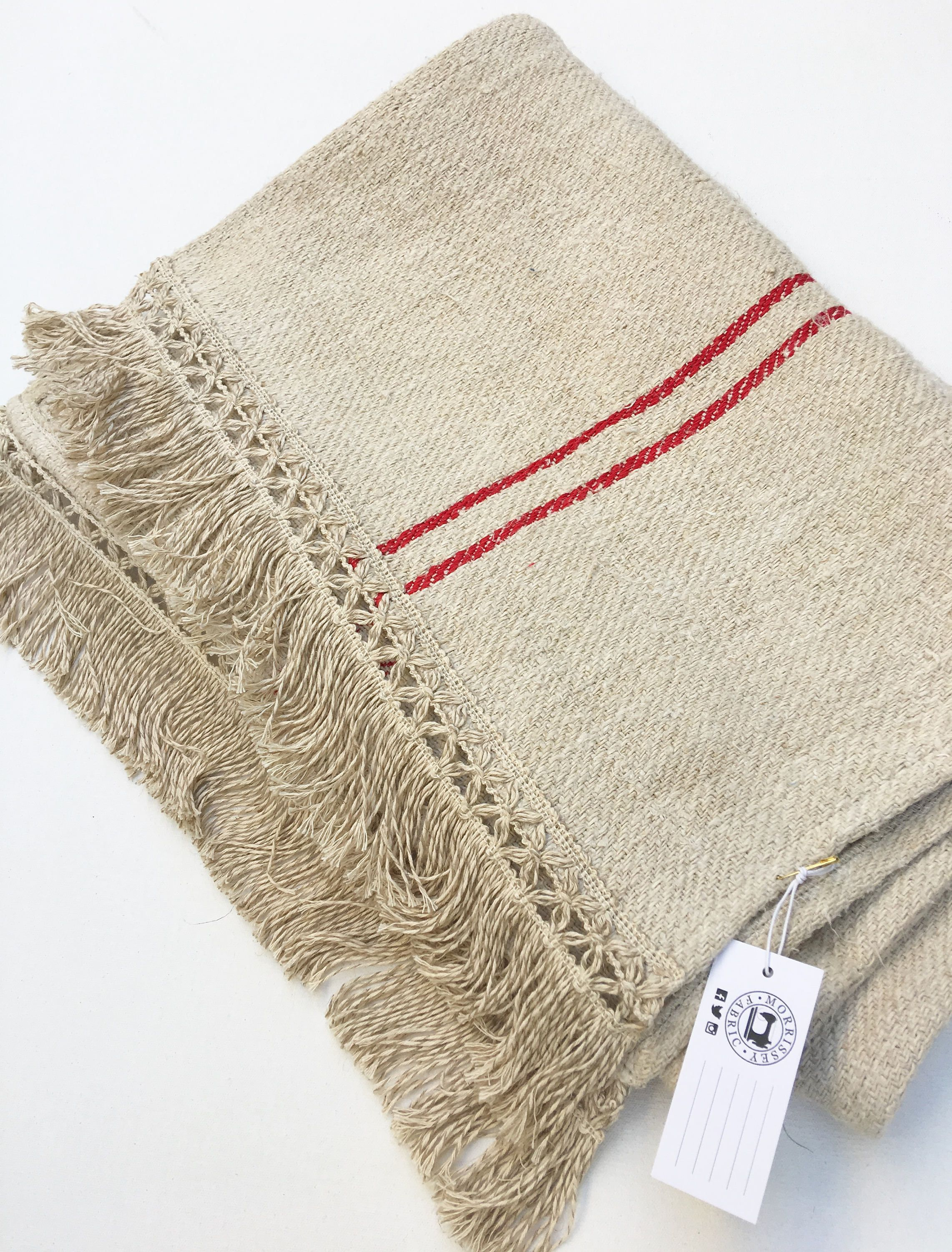Grain Sack Table Runner, Extra Long Runner, French Vintage Fabric, Natural  Color Linen