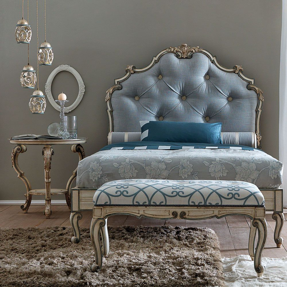 Classic High End Italian Designer Button Upholstered Bed