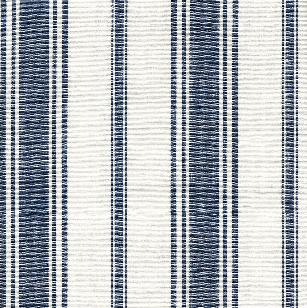 A Classic Woven Stripe Fabric In Navy Blue And Cream That Has An