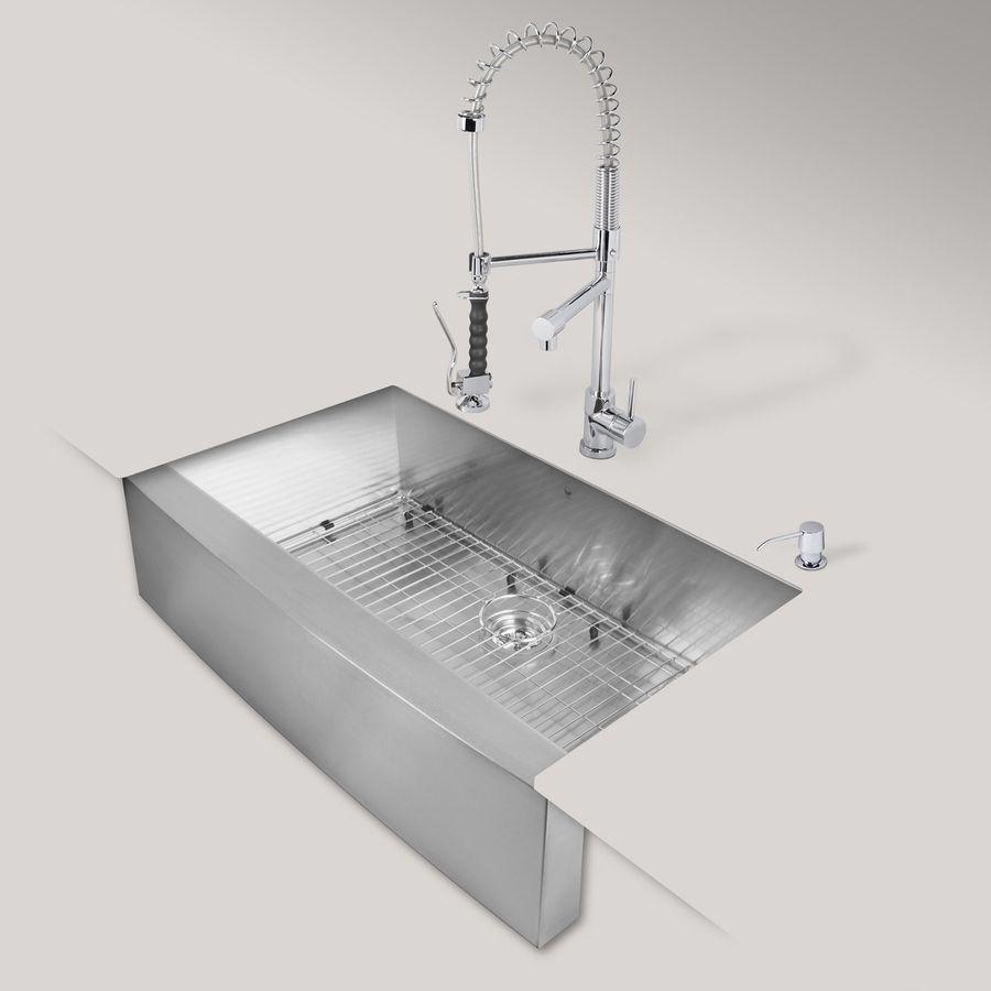 Vigo 36-In X 22.25-In Matte/Brushed Steel-Stainless Single-Basin ...