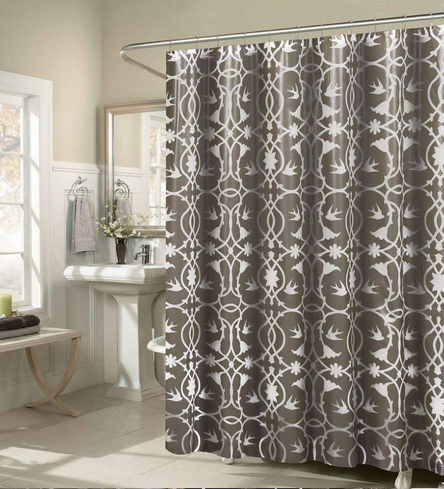 Premium Damask Shower Curtain Set With 12 Hooks Taupe White