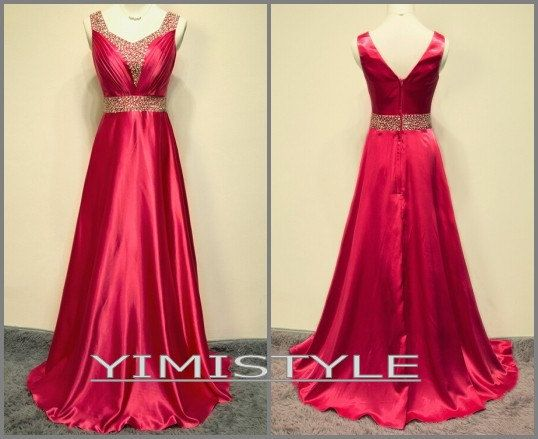 2015 red satin long evening prom dress party dress by YIMISTYLE