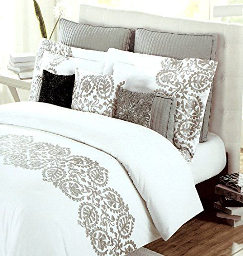 luxury gray and white embroidered duvet cover bedding set ethnic grey floral scroll design on 300