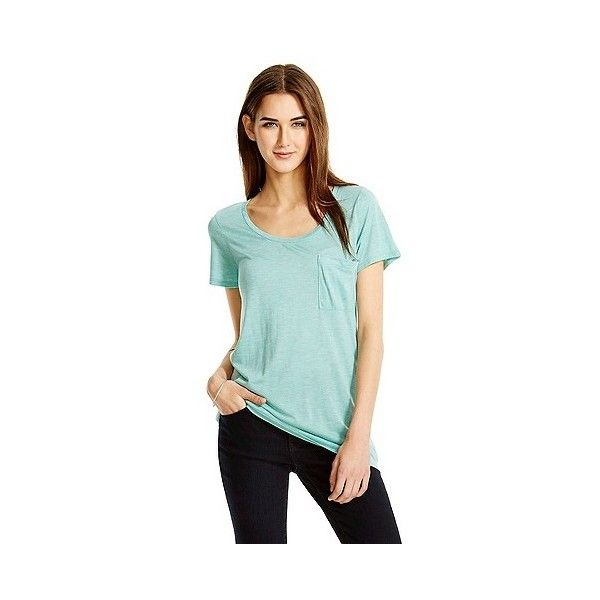 e0b645b3 Women's Crew Neck Micromodal Tee with Pocket Turquoise Heather ($12) ❤  liked on Polyvore