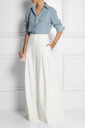 design senza tempo c7cf2 ea422 Pantaloni palazzo bianchi. | Clothes! | Pantaloni palazzo ...