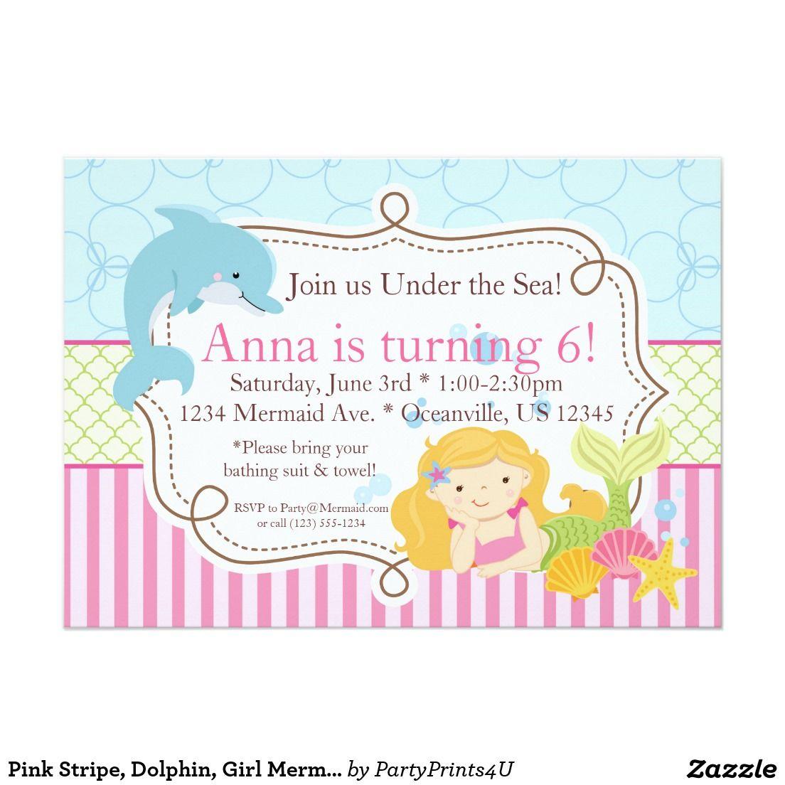 Pink Stripe, Dolphin, Girl Mermaid Birthday Party Invitation ...