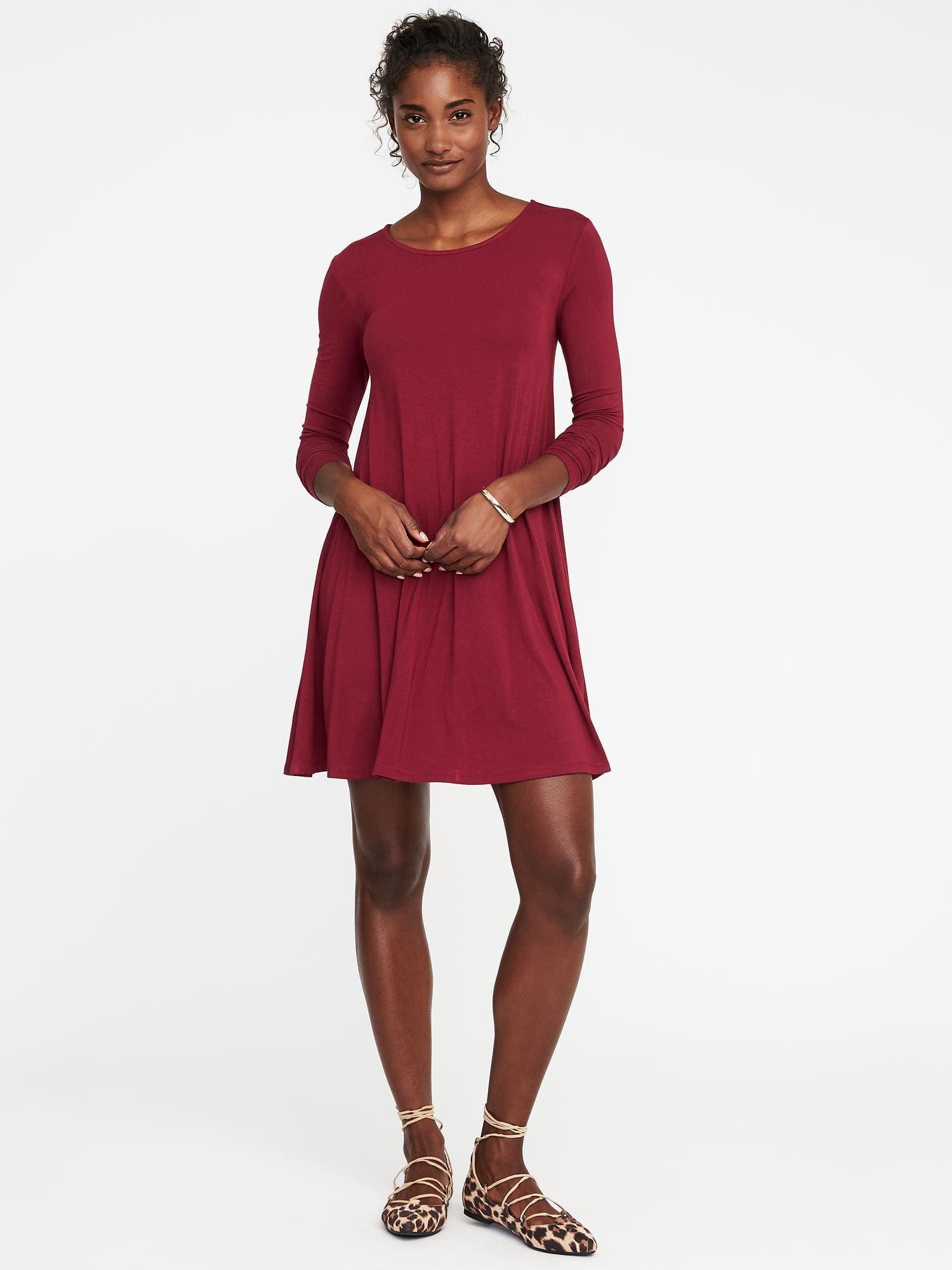 612df10f516e2 Old Navy Jersey-Knit Swing Dress $30 - Shade: Gosh Garnet | My ...