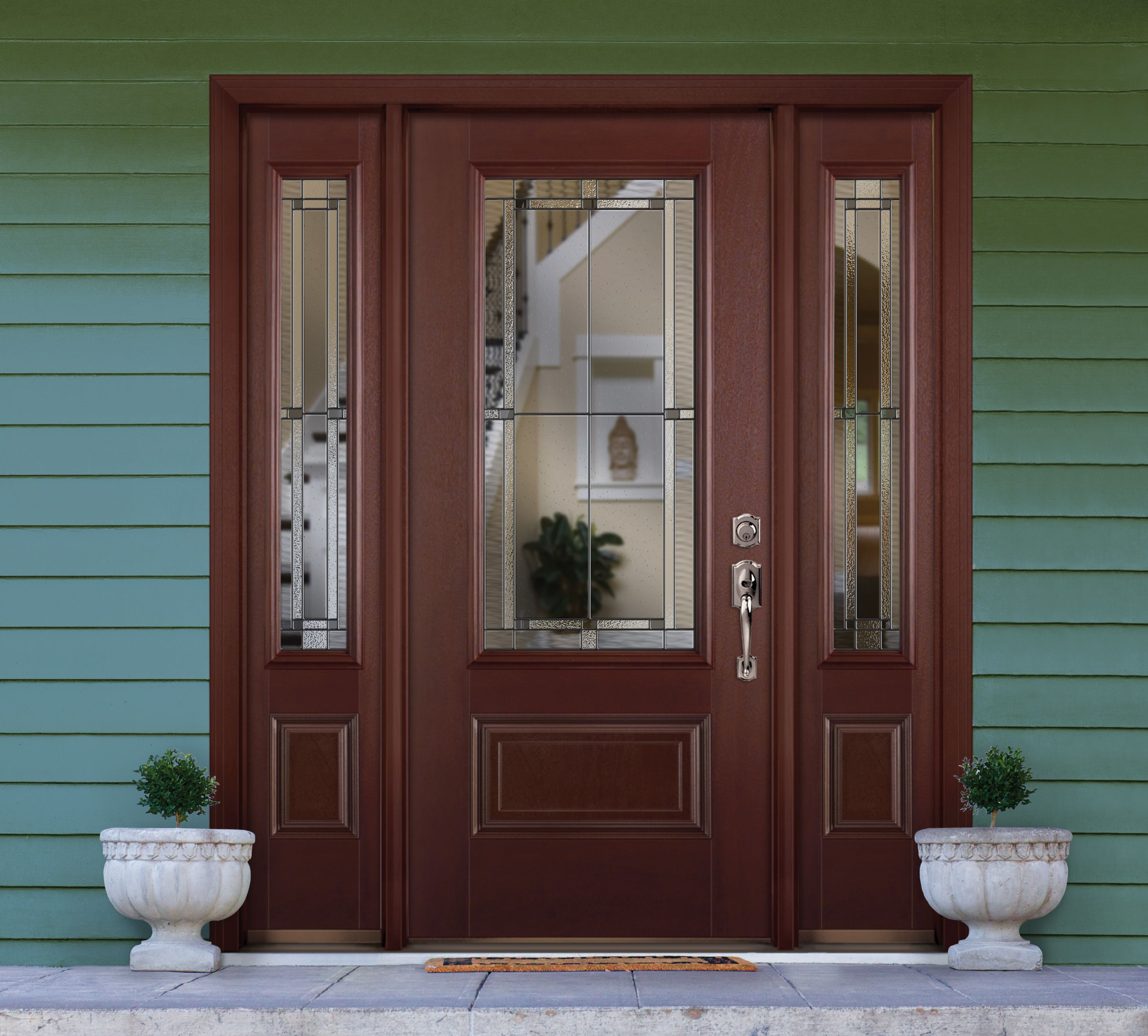 Traditional Styled Home Entryway Featuring Masonite Belleville Series Mahogany Textured Exterior Door With Marco Style Decorative Glass Half Lite