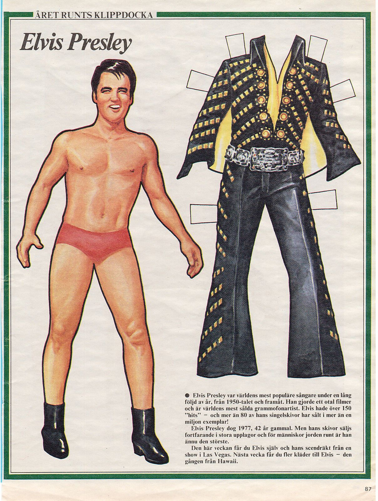 Elvis Presley Vintage 1980s Swedish Paper Doll Clothes Have A Look | eBay