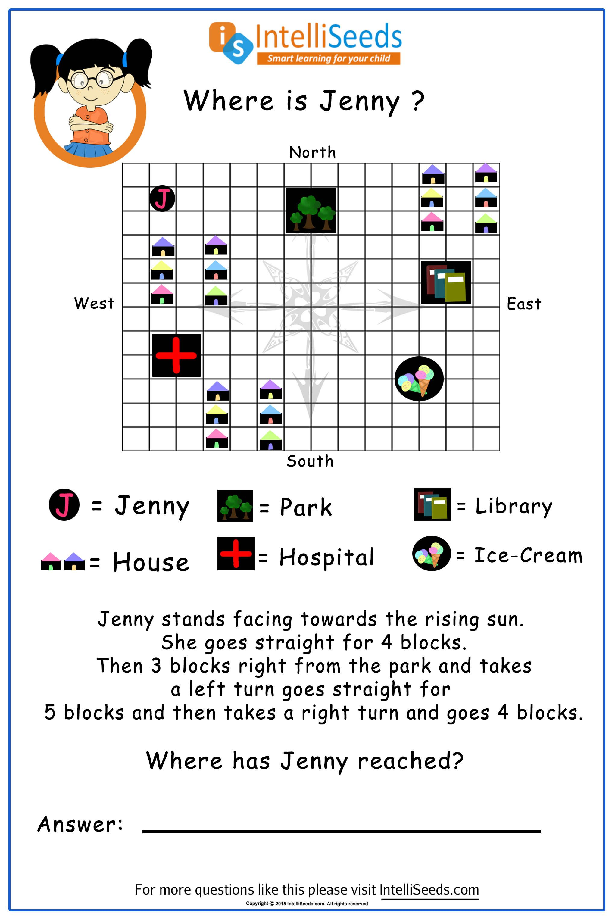 Direction Sense Thinking Skills Worksheets For Grade 3 Story Problems [ 3048 x 2032 Pixel ]