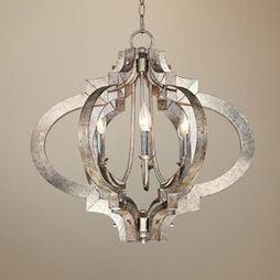 Contemporary Possini Ornament Aged Silver 6-Light Chandelier - mediterranean - chandeliers - Lamps Plus