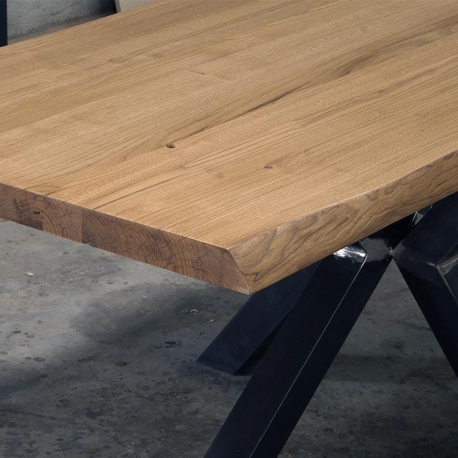Tavolo Con Gamba Centrale tavolo in legno massello gamba centrale in ferro modello