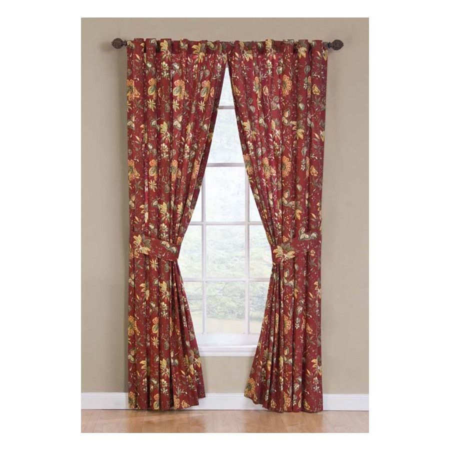 Shop Waverly 84 In L Crimson Felicite Curtain Panel At Lowes Com
