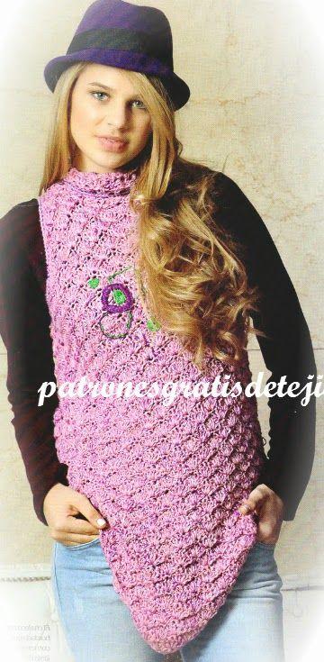 Patrones de chaleco crochet de sisa americana con paso a paso | Crochet y dos agujas