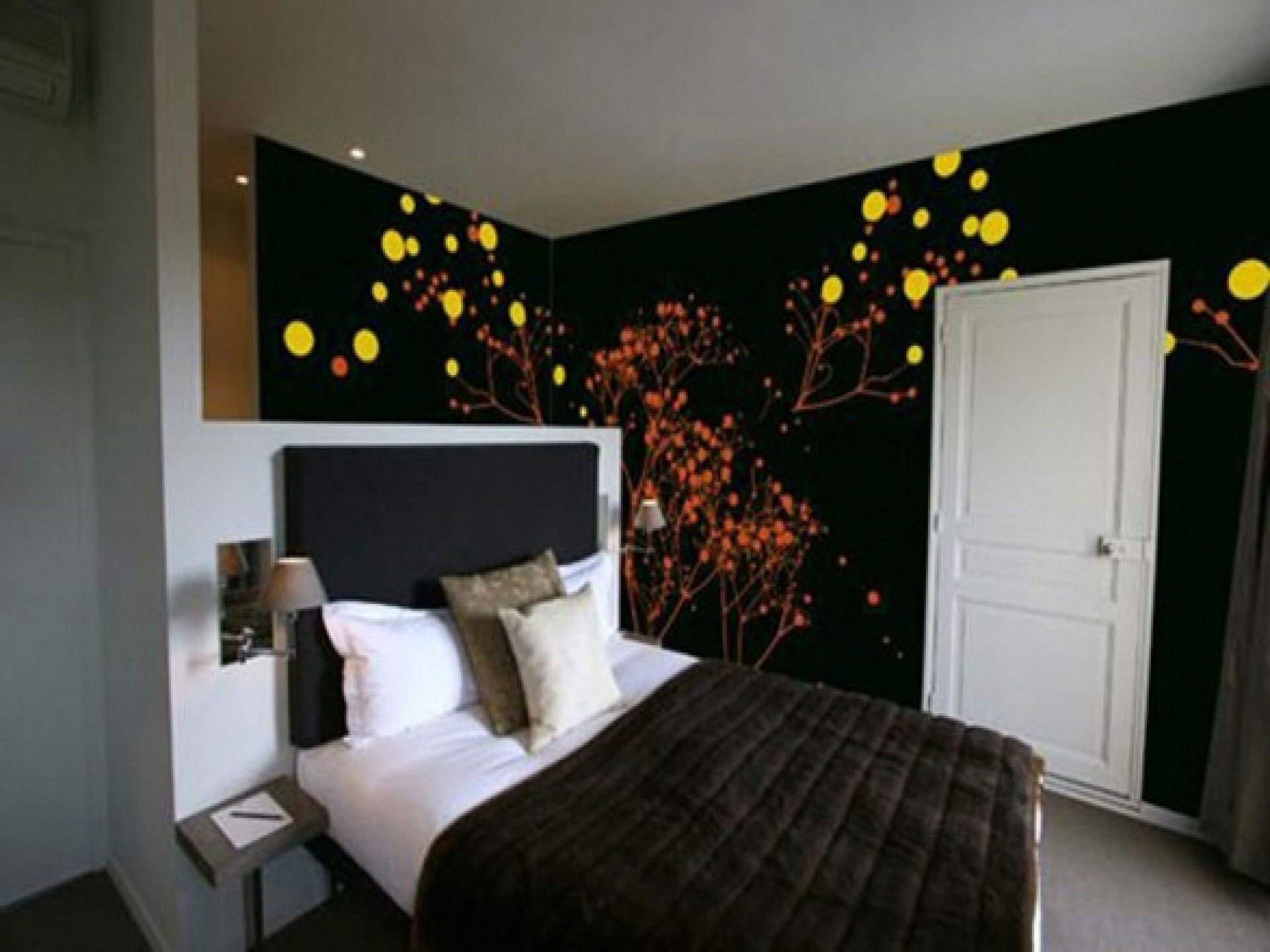 Günstige Schwarze Schlafzimmer Möbel Wand Design Mit