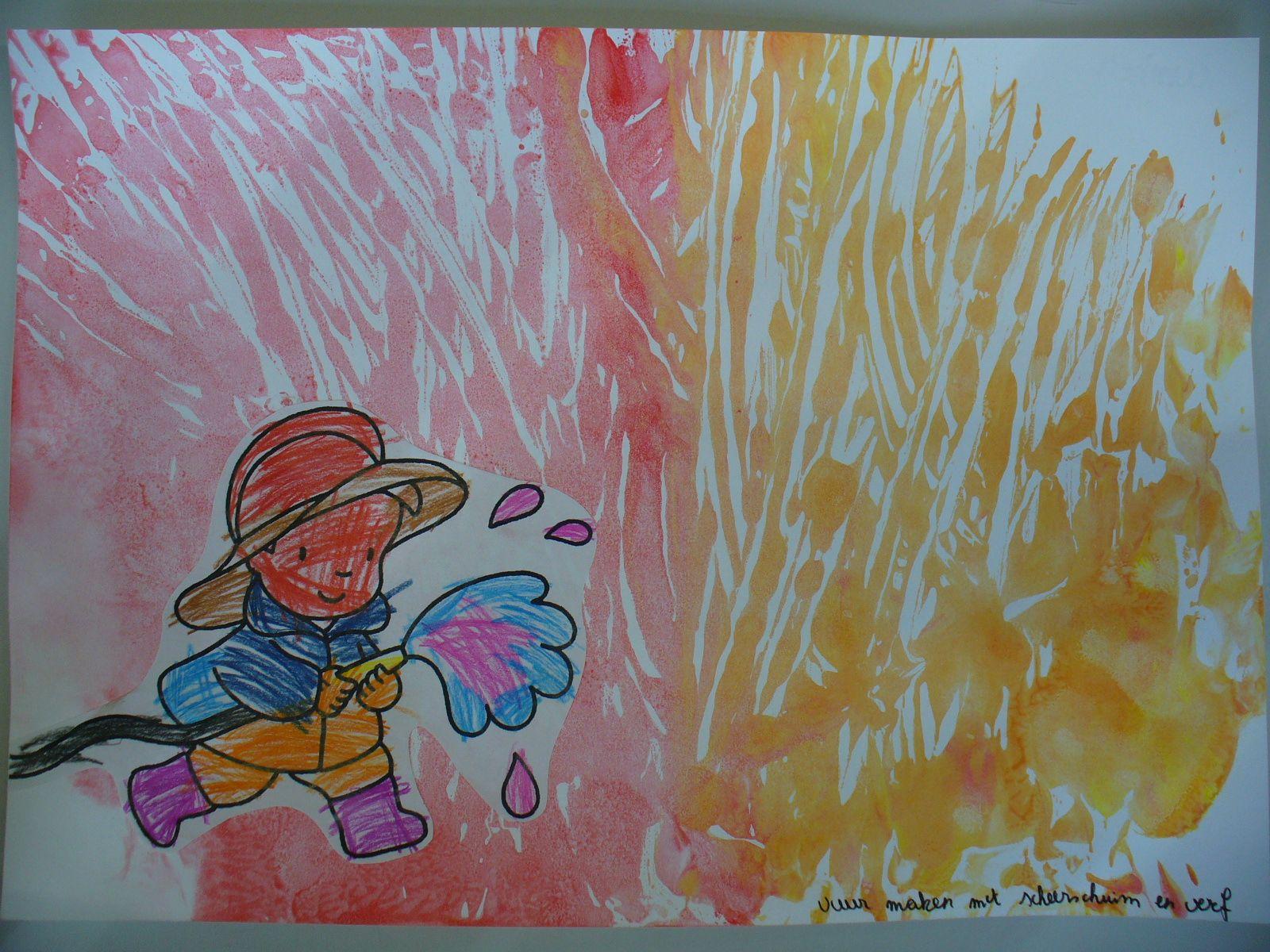 Vuur maken met scheerschuim en verf op tafel afdrukken op papier brandweer pinterest met - Maken rode verf ...