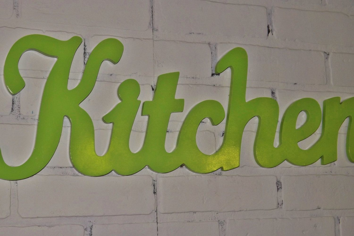 new item / kitchen wall decor / shabby chic decor /lime green / wall