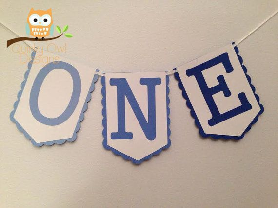 First Birthday Party Banner ONE Blue Ombre High Chair Banner