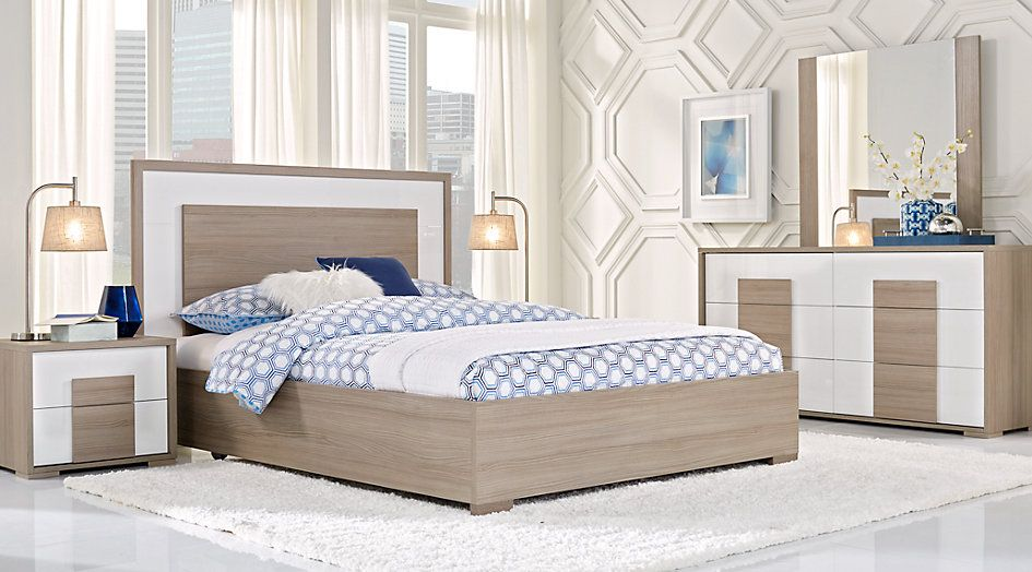 Studio Place Taupe 5 Pc Queen Panel Bedroom Bedroom Sets Queen King Size Bedroom Sets Bedroom Panel