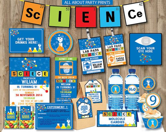 Science Tags: PDF Format-Instant Download-Science Theme Party Pack
