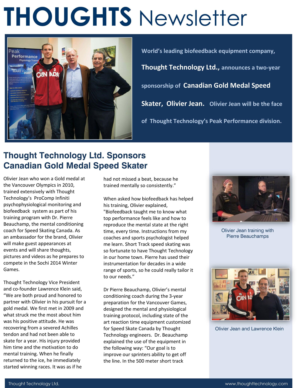 Thought Technology Ltd. Announces 2Year Endorsement Deal