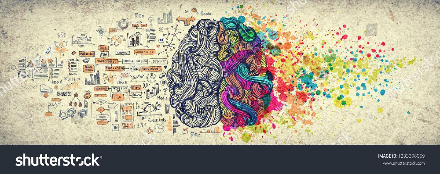 Left right human brain concept, textured illustration. Creative left and right part of human brain, emotial and logic parts concept with social and business doodle illustration of left side, and art ,