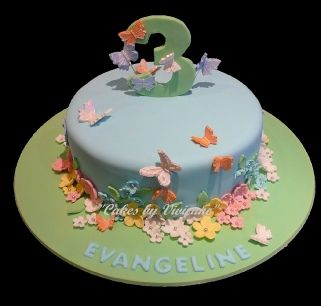 Butterfly and Flower Birthday Cake Butterfly Cake Flower Cake 3