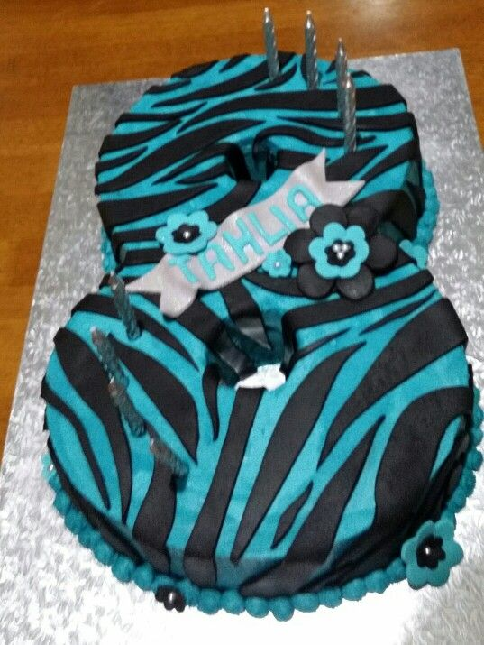 Teal Zebra Print Cake In Number 8 Tin With Flowers And Name Banner