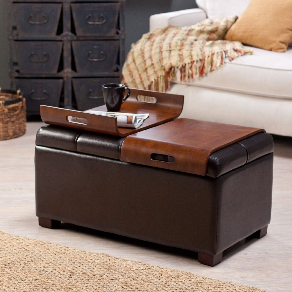 furniture brown leather square ottoman coffee table when you open lid you find space to - Brown Leather Ottoman
