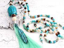 trendige Quastenkette ✿ Boho ✿ Hippiekette