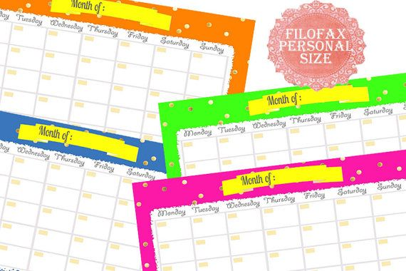 Filofax Personal Printable Calendar Planner Perpetual Calendar