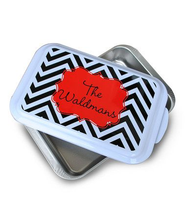 This Black Zigzag Personalized Casserole Dish is perfect! #zulilyfinds