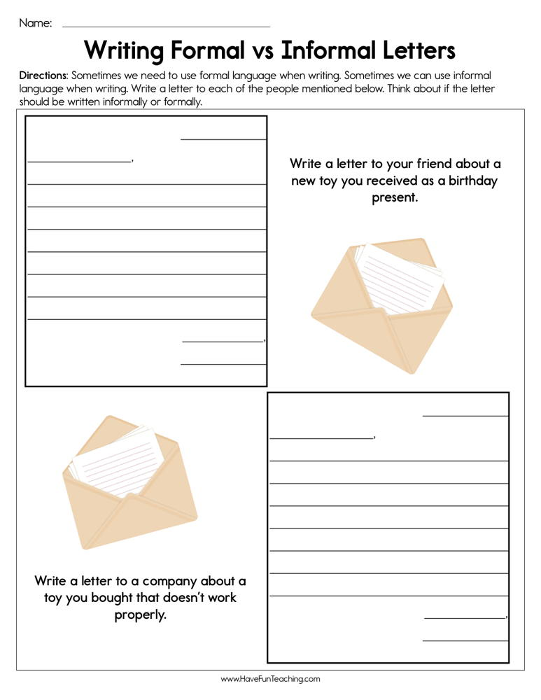 Writing Formal vs. Informal Letters Worksheet Letter