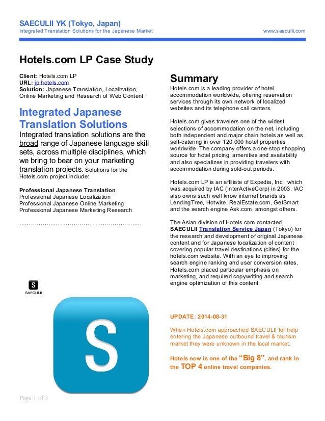 Japanese Translation Services Case Study 1 Case Study Translation Study