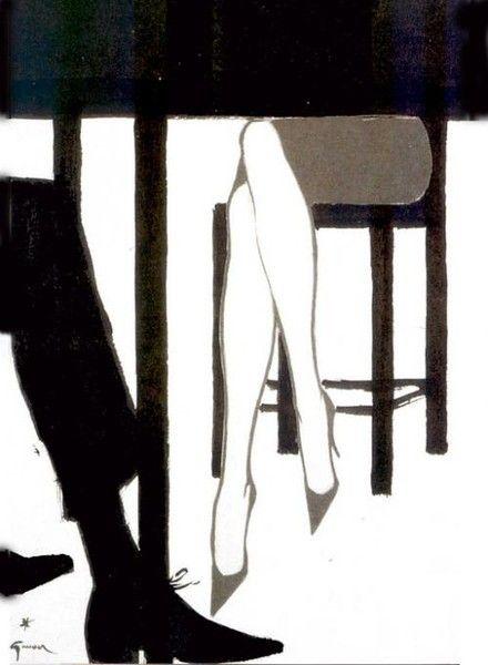 René Gruau. This is a nice figurative silhouette idea