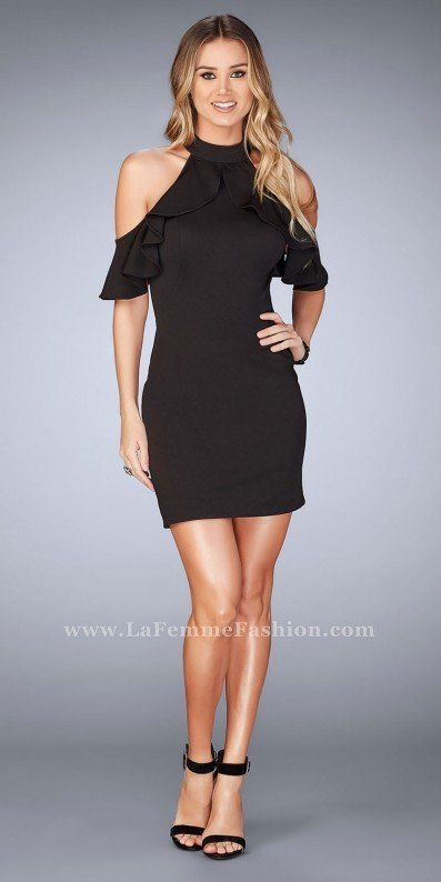 7cf6ff3dc2 Dance the night away in style with your closest friends in this Ruffled  High Collar Cold Shoulder Open Back Cocktail Dress by La Femme.