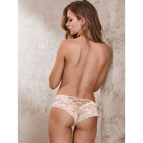8eb3d6932ee91 Victoria's Secret Strappy Lace Cheeky Panty ($17) ❤ liked on Polyvore  featuring intimates, panties, print, underwear, sexy panty, orange lace  panties, ...