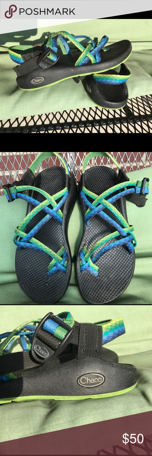 Women's vibrant chacos These bright yellow, green, blue size 8 chacos  are looking for a new pair of feet! Chaco Shoes Athletic Shoes