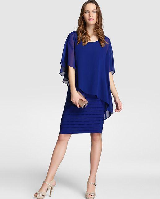 6b1b8eb31 Vestido de mujer Adrianna Papell en azul con jaretas